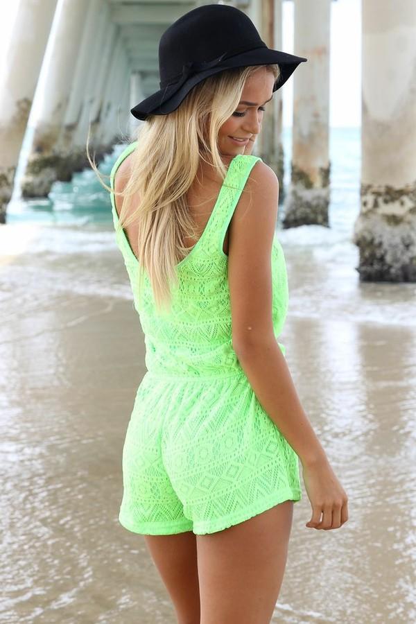 shorts neon neon playsuit romper romper neon green ustrendy romper ustrendy