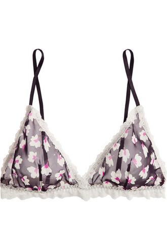 bra chiffon soft lace floral navy print underwear