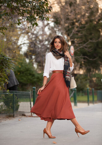 lovely pepa blogger scarf skirt shoes bag shirt jewels