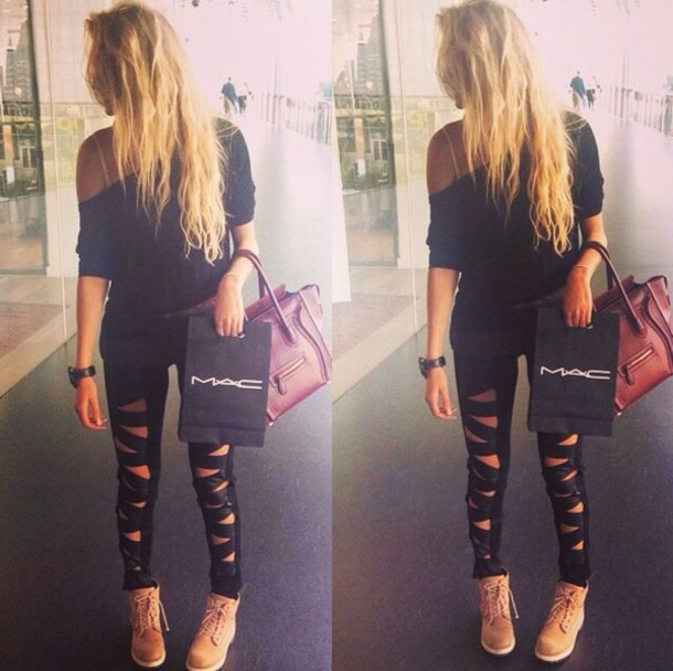 Leggings: cut-out, black cut out, black leggings, black jeans ...