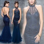 dress,nina canacci,evening dress,blue dress,fit and flare dress,navy dress,halter dress,prom dress