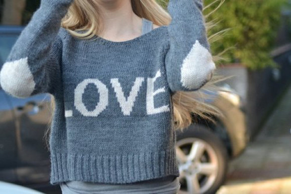 blue sweater grey sweater elbow patches