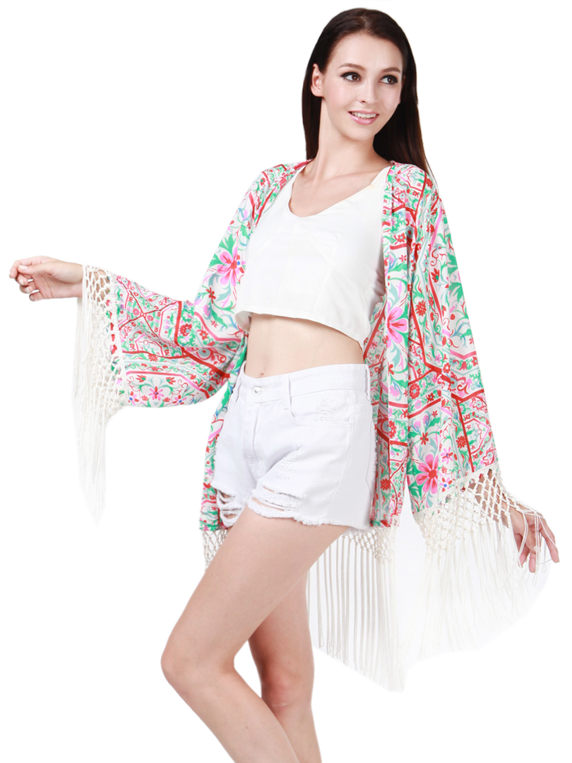 Multicolored national print kimono sunscreen coat with tassels