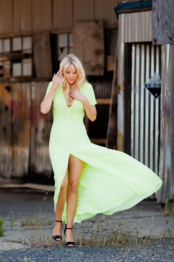 dress cap shoulder long dress green dress side split v neck dress layered dress