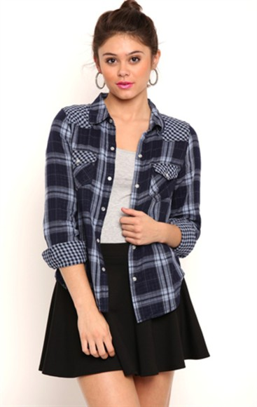 blue shirt plaid jacket patterned shirt