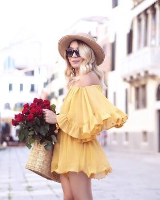 romper hat tumblr off the shoulder yellow yellow romper sun hat straw hat bag basket bag