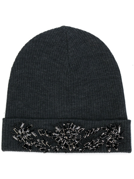 beaded hat beanie grey