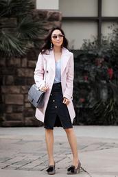 fit fab fun mom,blogger,t-shirt,coat,skirt,shoes,bag,sunglasses,jewels,trench coat,pink coat,winter outfits,black skirt,grey bag