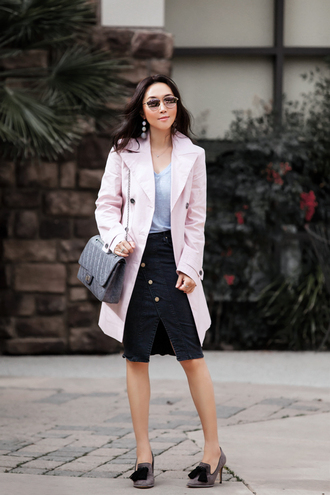 fit fab fun mom blogger t-shirt coat skirt shoes bag sunglasses jewels trench coat pink coat winter outfits black skirt grey bag