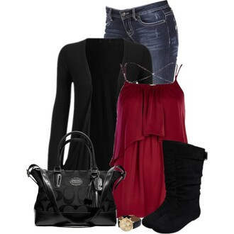 top blouse fine strap jeans jacket chic bag watch boots