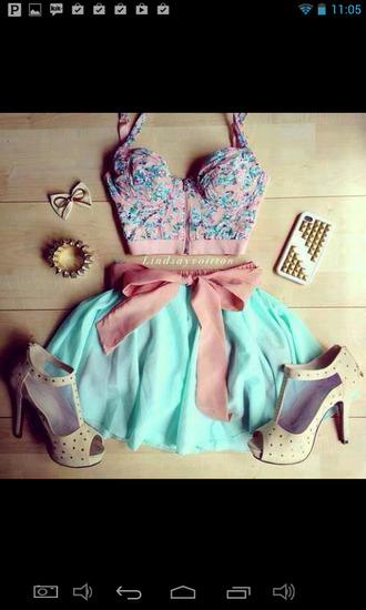 shoes skirt lindsay voitton aquamarie dress blue skirt pink bow pink high heels beige shoes blouse