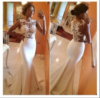 dress fitted dress lace dress sheer dress white dress mermaid prom dresses prom dress gown wedding dress prom