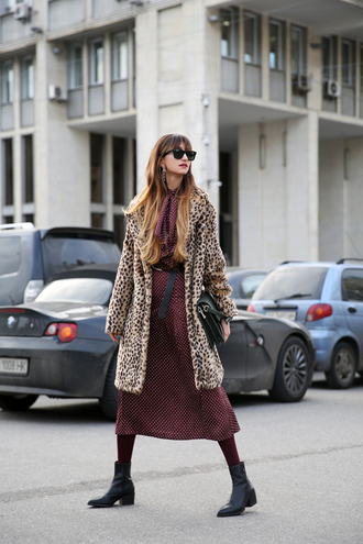 tina sizonova blogger coat skirt blouse shoes bag tights winter outfits midi dress winter coat animal print boots