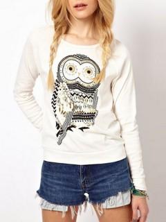 White sweatshirt with owl pattern