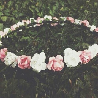 hair accessory flower flower crown pink whitee