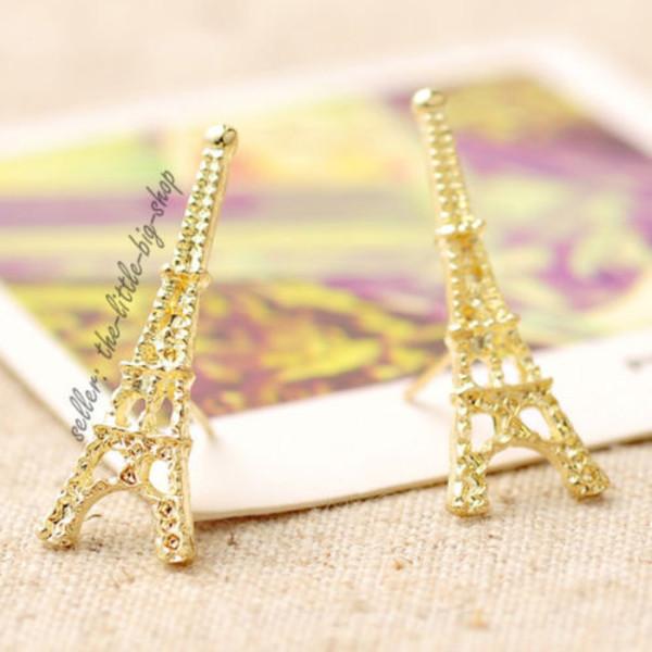 jewels earrings eiffel tower france paris girly elegant alloy