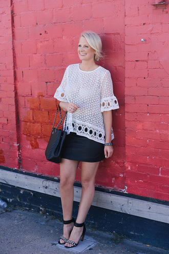 style archives | the style scribe blogger top skirt bag shoes jewels eyelet top bell sleeves bell sleeve top white top summer outfits summer top mini skirt black skirt sandals sandal heels high heel sandals black bag