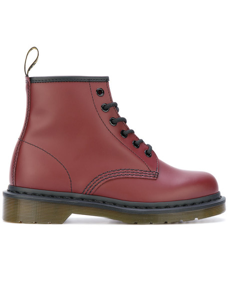 Dr. Martens women boots leather red shoes