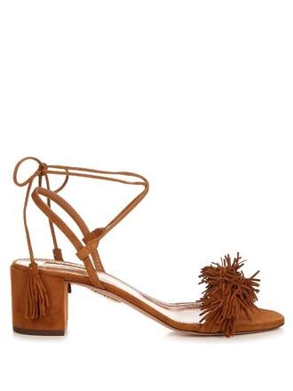 heel sandals suede tan shoes