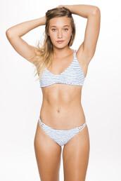 swimwear,frankies bikini,2016,bikini top,braided,racerback,sporty,stripes,white