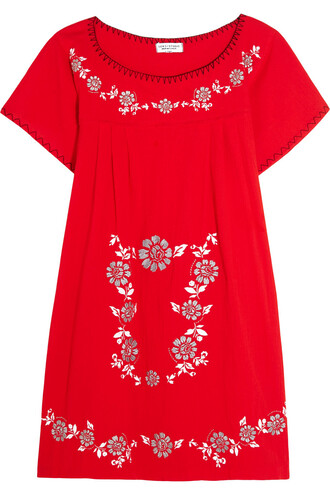 dress mini dress mini embroidered cotton red