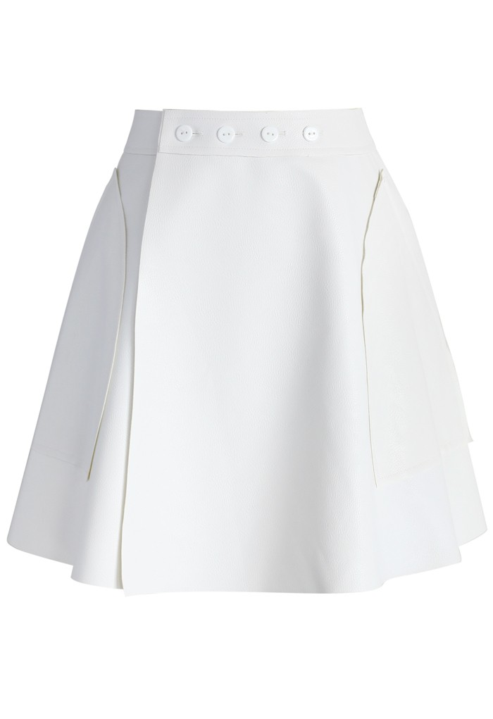 Faux Leather Flap Skirt in White - Retro, Indie and Unique Fashion