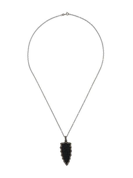 Gemco women necklace silver black jewels