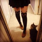 shoes,brown,lace up,boots,suede,cute,kitty tights