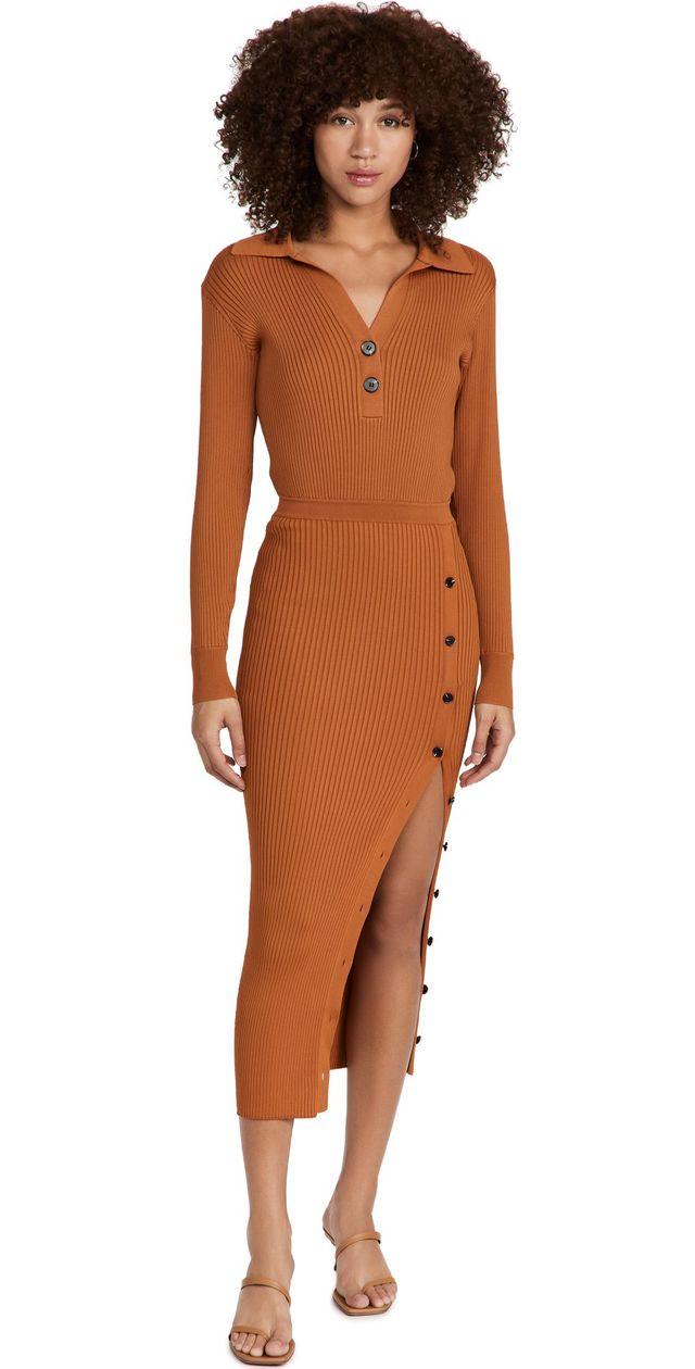 Self Portrait Cinnamon Ribbed Knit Midi Dress
