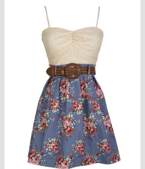 floral dress white and blue dress brown belt