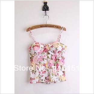2013 summer hot selling women vintage floral print vest sexy crop tops slim tube top spaghetti strap 8 colors F 659-inCamis from Apparel & Accessories on Aliexpress.com