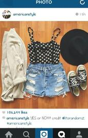 blouse,flowers,corset,top,shorts,ripped shorts,hat,floppy hat,cardigan,baige,shirt,t-shirt,black,converse,shoes,high waisted,High waisted shorts,crop tops,design