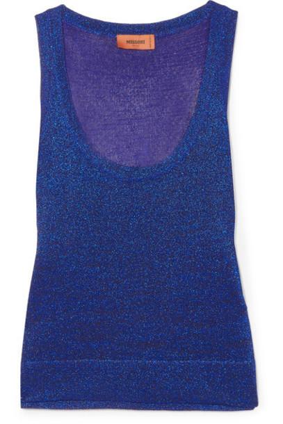 Missoni metallic blue top