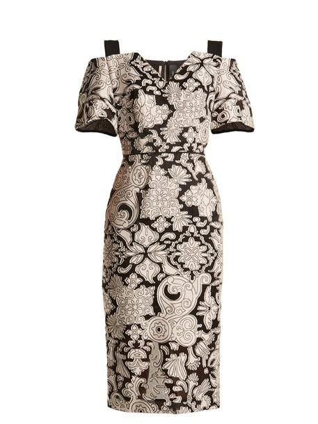 dress cut-out floral black cream