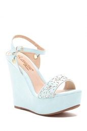 shoes,blue shoes,heels,strappy heels,summer,pastel,wedges,flower cut out