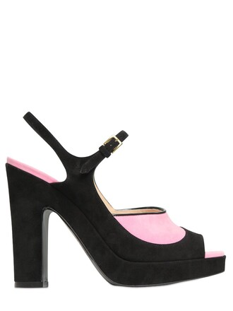 sandals suede black pink shoes