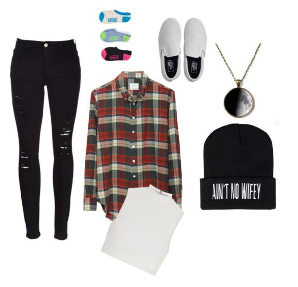 pants vans flannel shirt beanie