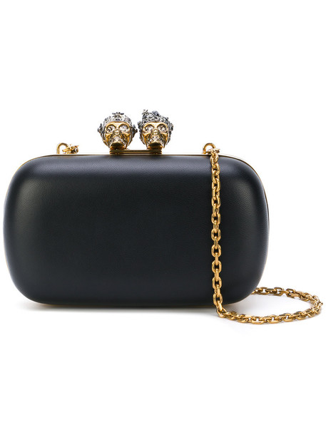 Alexander Mcqueen skeleton women king clutch leather black bag