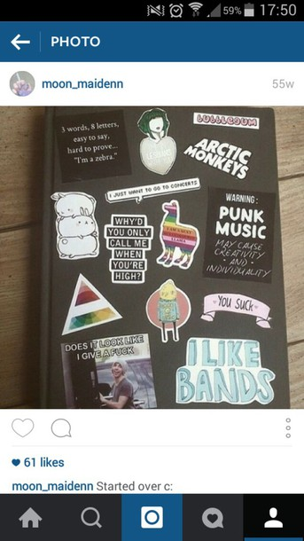 home accessory stickers grunge instagram quote on it arctic monkeys rainbow punk music band computer sticker