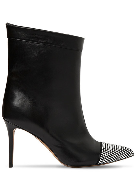 ALEXANDRE VAUTHIER 90mm Cha Cha Swarovski Leather Boots in black