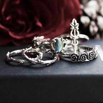jewels shop dixi sterling silver labradorite thorn ring goth grunge