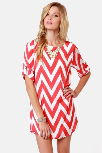 dress coral dress coral white dress white chevron fashion style cute dress cute outfits summer dress pretty pretty dress