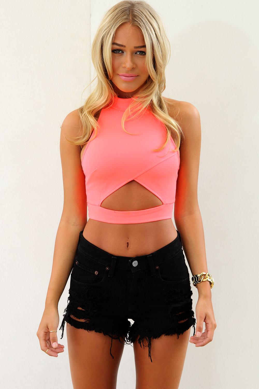 853b39d62f6c98 Pink Party Top - Neon Cutout Sleeveless Crop Top