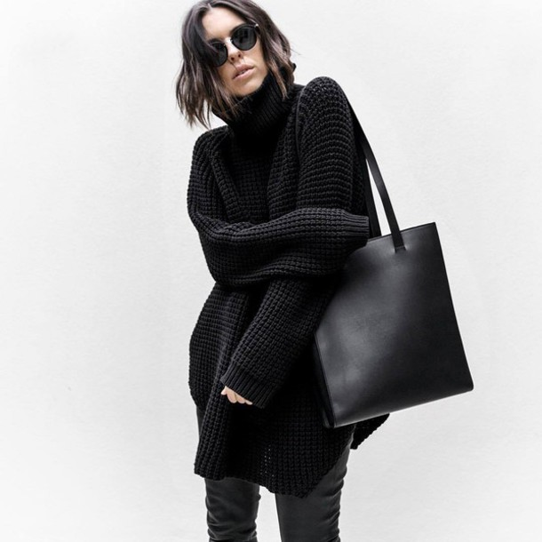 Sweater: tumblr, black sweater, turtleneck, turtleneck sweater ...