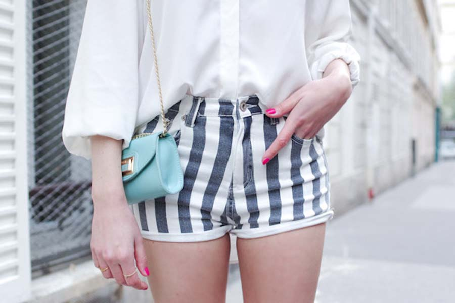Stripes Edged Denim Shorts | Choies