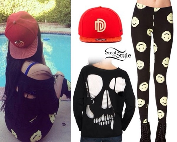pants leggings smile face black skull t-shirt hat shirt