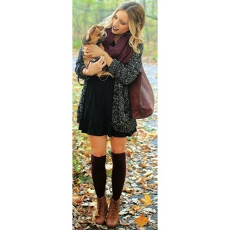 dress fall outfits outfit scarf bag drees cardigan boots stockings fashion