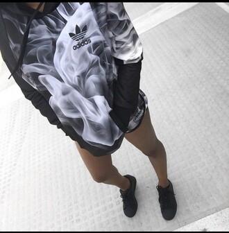 sweater adidas smoke hoodie black and white