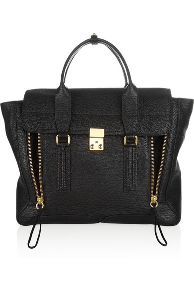 3.1 Phillip Lim | The Pashli large shark-effect leather trapeze bag | NET-A-PORTER.COM