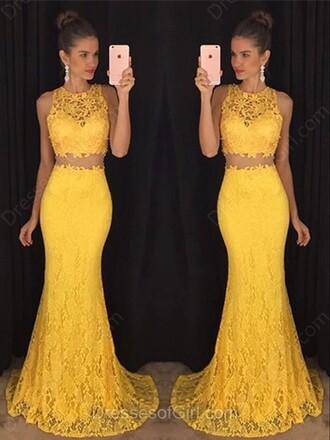 dress lace two piece dress set beautiful yellow trendy fashion crop tops maxi dress prom elegant gown dressofgirl